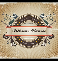 Vintage music sign vector image