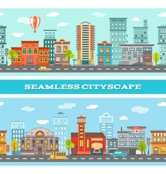 City buildings horizontal banners vector