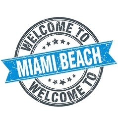 Welcome to miami beach blue round vintage stamp vector