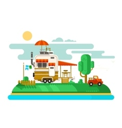 Vacation trailer flat design vector