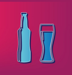 Beer bottle sign blue 3d printed icon on vector
