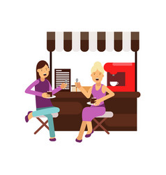 best female friends talking and sitting near vector image vector image