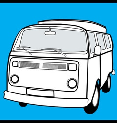 Black and white campervan vector