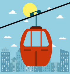 Cable car transport city sun vector