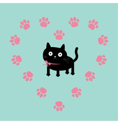 Cat inside paw print heart frame flat design vector