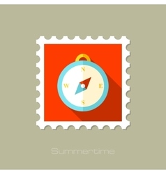 Compass flat stamp with long shadow vector image