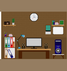 computer office table flat design vector image