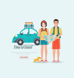 couple travelers carring map with suitcases on a vector image