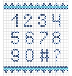 Cross stitch numerals embroidery vector image vector image