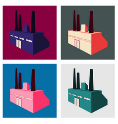 Factory building icon set in the flat style vector