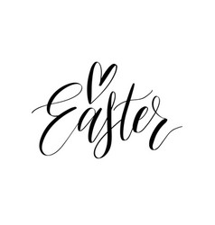 happy easter calligraphy on white vector image vector image