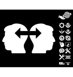 Heads exchange arrows icon with tools bonus vector