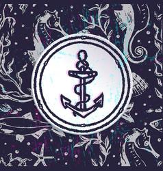 Ink hand drawn marine background vector