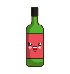 Kawaii wine bottle ico vector