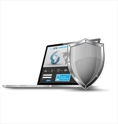 Laptop with metallic shield internet security vector image vector image