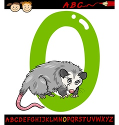 letter o for opossum cartoon vector image vector image