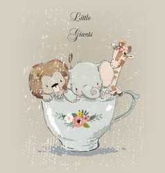 Little animals in the cup vector