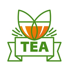 Logo mug of tea and a ribbon vector