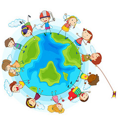 Lots of children around the world vector image vector image