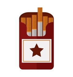 Open cigarettes pack narcotic product box flat vector