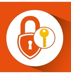 Padlock key secure safety icon vector