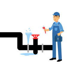 proffesional plumber character with an adjustable vector image