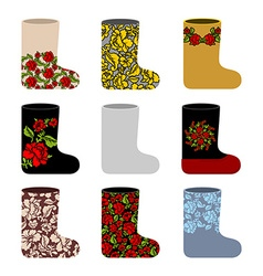 Set national Russian winter footwear Traditional vector image