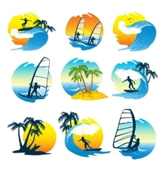 Surfing Icons Set With People vector image vector image