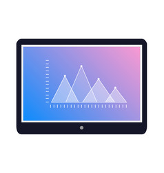 tablet icon with graphic on screen flat vector image