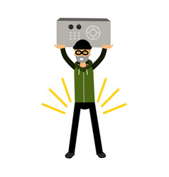thief character holding a safe in a highly raised vector image