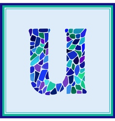 U - letter - green watercolor mosaic vector
