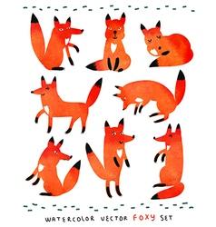 Watercolor foxy set vector