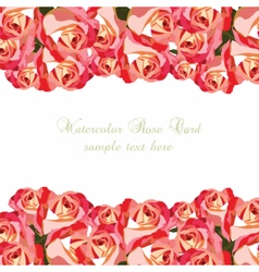 Watercolor pink roses card vector
