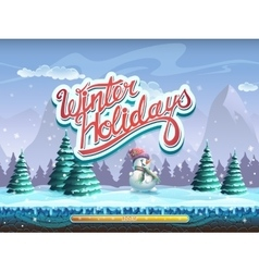 Winter holidays snowman boot screen window for the vector image
