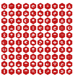 100 weather icons hexagon red vector