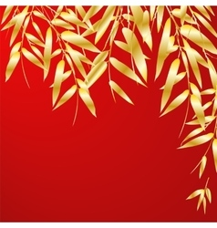 Bamboo branches on red background vector