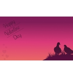 Happy valentine day with dove on hill vector