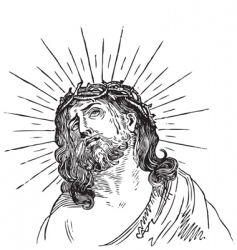 Jesus christ engraving vector