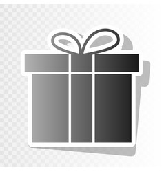 Gift box sign  new year blackish icon on vector