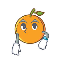 Waiting orange fruit cartoon character vector