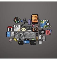 Color doodle icons set vector image