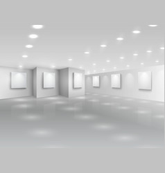 Realistic gallery hall with blank white canvases vector