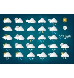 Weather icons with blue background vector