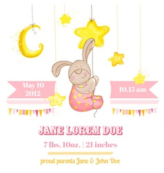 Baby girl arrival card - with baby bunny and stars vector