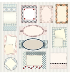 Set of labels quilting design vector