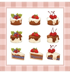Collection of cakes on white background vector image
