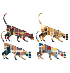 Sniffing cat mosaics vector