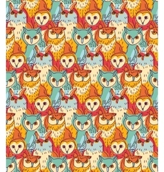 Group owl color seamless pattern vector image