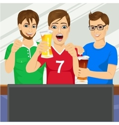 Three young friends watching sports game vector