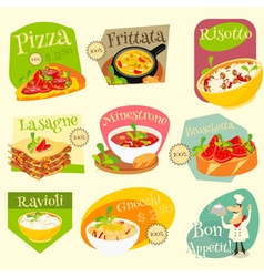 Italian food labels vector